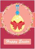 Gelukkige Pasen-kaart, met leuk konijntje Stock Afbeeldingen