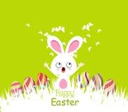 Gelukkige Pasen-kaarten met eieren en konijntje Stock Afbeeldingen