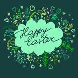Gelukkige Pasen-kaartenillustratie met bloemenachtergrond vector illustratie