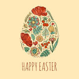 Gelukkige Pasen-kaartenillustratie met decoratieve bloemenpasen b.v. Royalty-vrije Stock Afbeelding