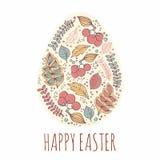 Gelukkige Pasen-kaartenillustratie met decoratieve bloemenpasen b.v. Stock Afbeelding