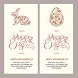 Gelukkige Pasen-kaartenillustratie met decoratieve bloemenpasen b.v. Stock Afbeeldingen