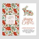 Gelukkige Pasen-kaartenillustratie met decoratieve bloemenpasen-bu Stock Fotografie