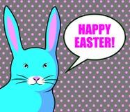 Gelukkige Pasen-kaartenillustratie met kleurrijk helder blauw konijn vector illustratie