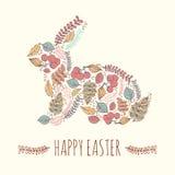Gelukkige Pasen-kaartillustratie met bloemen decoratieve Pasen-bu Stock Afbeelding