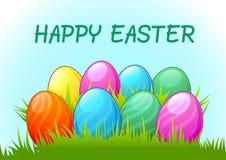 Gelukkige Pasen, kleurrijke eieren, Pasen-dag, Pasen-vakantie Royalty-vrije Stock Afbeeldingen