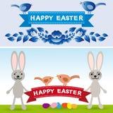 Gelukkige Pasen Konijn, eieren, bloemen, linten Inzamelingselement Stock Foto