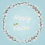 Gelukkige Pasen Pasen-Kronen met Willow Branches met bloemen en eieren Vakantiedecoratie op witte achtergrond stock illustratie