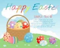 Gelukkige Pasen, Mand met kleurenpaaseieren op achtergrond, de Vectorillustratie van Groetkaarten vector illustratie