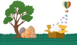 Gelukkige Pasen met konijnen die uit de doos en de kleurrijke eieren zijn Document kunststijl, vectorbeelden - vector vector illustratie
