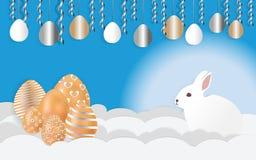 Gelukkige Pasen met konijnen organiseert partijen en kleurrijke eieren Document kunststijl, vectorbeelden - vector royalty-vrije illustratie