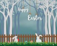 Gelukkige Pasen met leuke konijnen en kleurrijke eieren op document kunstachtergrond, voor vakantie, vieringspartij of groetkaart vector illustratie