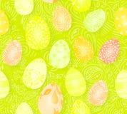 Gelukkige Pasen Naadloos paaseierenpatroon met verschillende textuur 3d geef realistische vectorillustratie terug De lente Stock Afbeeldingen