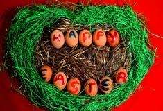 Gelukkige Pasen! Paaseieren Royalty-vrije Stock Afbeeldingen