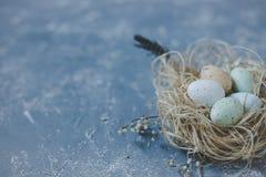 Gelukkige Pasen Paaseieren in nest met Pasen-decoratie, exemplaarruimte Royalty-vrije Stock Afbeeldingen
