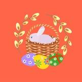 Gelukkige Pasen Paaseieren, wilgentak en Pasen-konijntje Stock Afbeelding