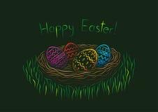 Gelukkige Pasen prentbriefkaar Stock Afbeeldingen