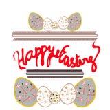 Gelukkige Pasen-prentbriefkaar, banner met eieren en hand getrokken tekst Stock Foto's