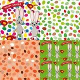 Gelukkige Pasen-reeks van naadloos patroon Konijn, eieren, vogel, lint Royalty-vrije Stock Foto's