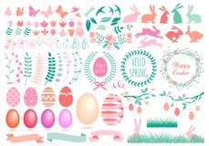 Gelukkige Pasen-reeks, vector Stock Afbeeldingen
