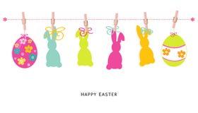 Gelukkige Pasen-silhoueteieren, konijntje, de kaartvector van de kuikengroet Royalty-vrije Stock Foto's