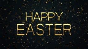 Gelukkige Pasen-tekst met fonkelende deeltjes glanzende achtergrond stock video