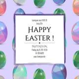 Gelukkige Pasen-uitnodigingskaart 3D paaseieren met het abstracte driehoekspatroon Stock Afbeeldingen