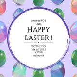 Gelukkige Pasen-uitnodigingskaart 3D paaseieren met het abstracte driehoekspatroon Stock Foto
