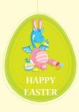 Gelukkige Pasen-uitnodigingskaart, met leuke blauwe draak Royalty-vrije Stock Afbeeldingen