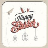 Gelukkige Pasen! Uitstekende de groetkaart van stijlpasen Stock Afbeelding