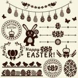 Gelukkige Pasen! Vectorontwerpelementen Stock Afbeelding