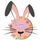 Gelukkige Pasen, zoet konijntje met bloemenontwerp stock illustratie