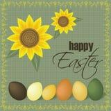 Gelukkige Pasen-zonnebloemenkaart Royalty-vrije Illustratie