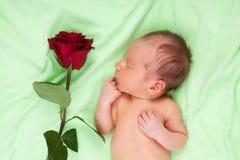 Gelukkige pasgeboren slaap royalty-vrije stock foto