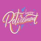 Gelukkige Pensionering Hand het getrokken vector van letters voorzien Ge?soleerd op roze achtergrond royalty-vrije illustratie