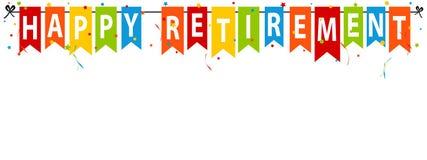 Gelukkige Pensioneringsbanner - VectordieIllustratie - op Wit wordt geïsoleerd Royalty-vrije Stock Foto