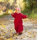Gelukkige peuter in de herfstpark Stock Afbeeldingen