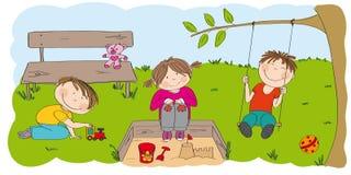 Gelukkige peuterkinderen die buiten in het park/de tuin spelen vector illustratie