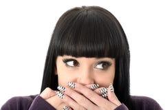 Gelukkige Pijnlijke Geschokte Aantrekkelijke Vrouw Stock Foto