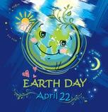 Gelukkige planeetglimlachen De Dag van de aarde 22 april vector illustratie