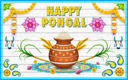 Gelukkige Pongal-groetachtergrond Royalty-vrije Stock Fotografie