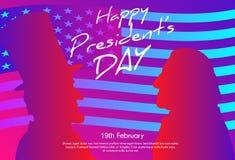 Gelukkige Presidenten Day op de Achtergrond van de V.S. De silhouetten van George Washington en Abraham Lincoln-met vlag als acht Royalty-vrije Stock Afbeelding