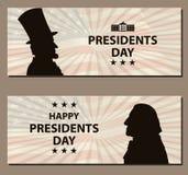 Gelukkige Presidenten Day Vintage banner De silhouetten van George Washington en Abraham Lincoln-met vlag als achtergrond Stock Fotografie