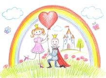 Gelukkige prinses van een sprookje Royalty-vrije Stock Afbeeldingen