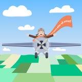 Gelukkige proef van het vliegtuig in de hemel Stock Foto's