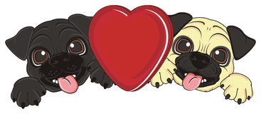 Gelukkige puppy met een rood hart Royalty-vrije Stock Foto