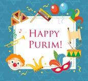 Gelukkige Purim, de kaart van de malplaatjegroet, affiche, vlieger, kader voor tekst Joodse vakantie, Carnaval Vector illustratie Stock Afbeelding