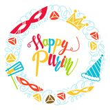 Gelukkige Purim-groetkaart royalty-vrije illustratie
