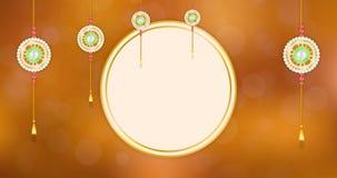 Gelukkige Raksha Bandhan-groetanimatie met het hangen geparelde gouden rakhi stock videobeelden