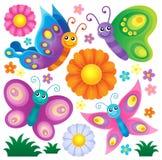 Gelukkige reeks 2 van het vlindersthema Royalty-vrije Stock Afbeelding